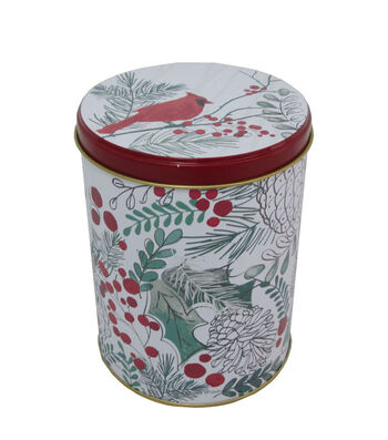 Maker's Holiday Christmas Large Round Solid Top Canister-Cardinal