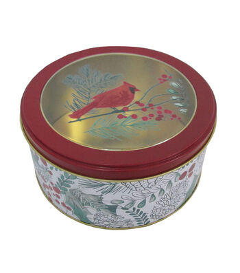 Maker's Holiday Christmas Small Round Clear Top Cookie Tin-Cardinal