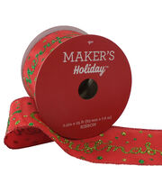 Maker's Holiday Christmas Ribbon 2.5''x25'-Green Merry Christmas on Red, , hi-res