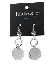 hildie & jo™ Circle Silver Dangle Earrings-Clear Crystal, , hi-res