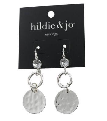 hildie & jo™ Circle Silver Dangle Earrings-Clear Crystal