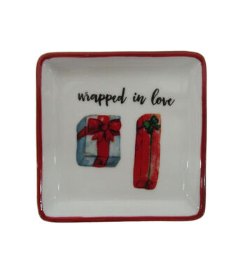 Maker's Holiday Christmas Stoneware Square Plate-Wrapped in Love