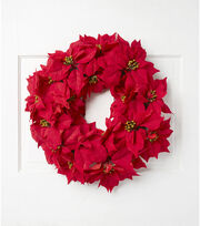 Blooming Holiday Christmas 24'' Poinsettia Wreath-Red, , hi-res