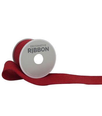 "Decorative Ribbon 2.5"" Solid Burlap Ribbon-Red"