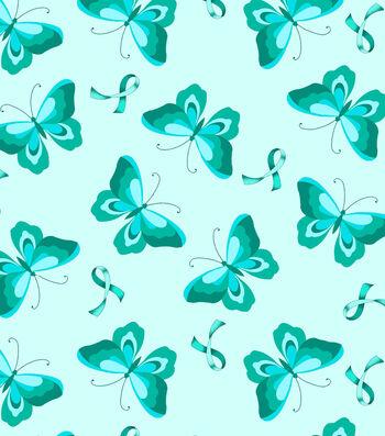 Anti-Pill Fleece Fabric 59''-Teal Ribbon & Butterfly
