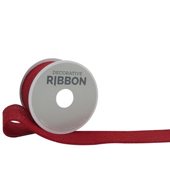 "Decorative Ribbon 1.5"" Solid Burlap Ribbon-Red"