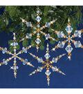 Solid Oak Nostalgic Christmas Beaded Crystal Snowflake Ornament Kit-Gold