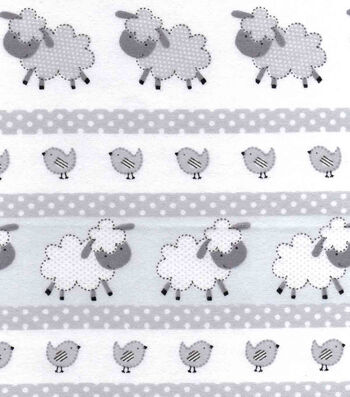 "Snuggle Flannel Fabric 42""-Gray Dotted Sheep"