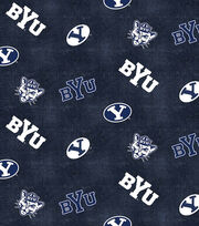 "Brigham Young University Cougars Flannel Fabric 42""-Distressed Logo, , hi-res"