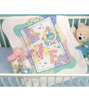 Dimensions Baby Hugs Quilt Stamped Cross Stitch Kit Zoo Alphabet