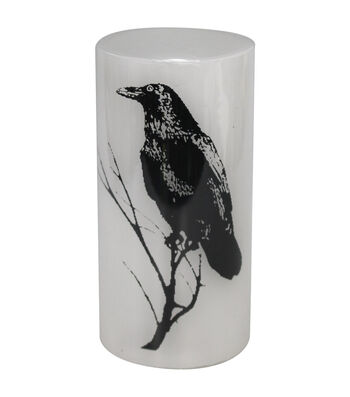 Maker's Halloween 3''x6'' Silk-screened LED Candle-Crow