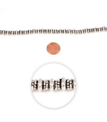 Blue Moon Strung Metal Spacer Beads,Rondelle,Silver