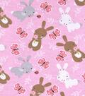 Snuggle Flannel Fabric 42\u0027\u0027-Bunnies & Butterflies