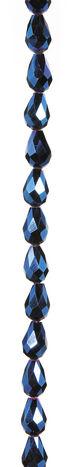 7\u0022 Bead Strands - Blue Metallic Faceted Teardrops, 8 x 11mm