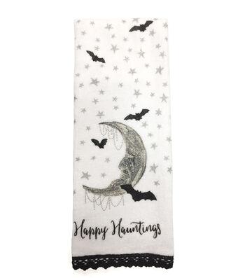 Maker's Halloween Velour & Terry Hand Towel-Happy Hauntings & Moon