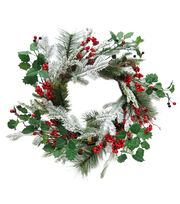 "Maker's Holiday 23"" Holly Berry Wreath, , hi-res"