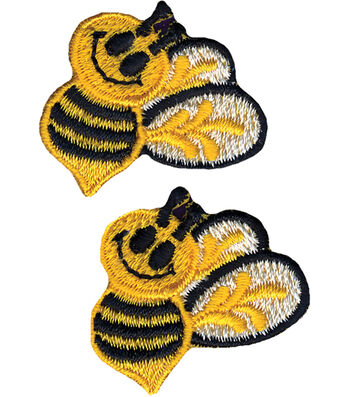 """Wrights Iron-On Applique-Bumble Bees 1""""X1-1/2"""" 2/Pkg"""