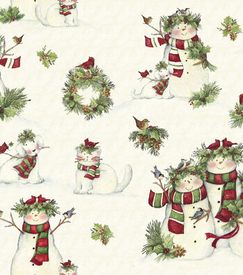 "Susan Winget Cotton Fabric 43""-Snowmen and Pets"