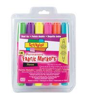 Dual Tip Permanent Fabric Markers 6/Pkg-Neon, , hi-res