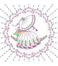 Stamped Quilt Cotton Block Fabric-Lady Holding Umbrella