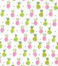 Novelty Cotton Fabric 43\u0027\u0027-Pink & Yellow Pineapples