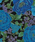 Keepsake Calico™ Cotton Fabric-Blue Floral On Black