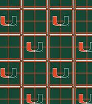 "University of Miami Hurricanes Flannel Fabric 42""-Plaid, , hi-res"