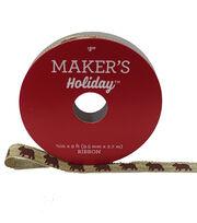 Maker's Holiday Christmas Ribbon 3/8''X9'-Brown Bear on Natural, , hi-res