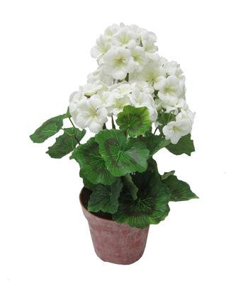 Fresh Picked Spring 18'' Geranium in Pot-White