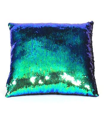 Sequin Pillow 16''-Blue & Green