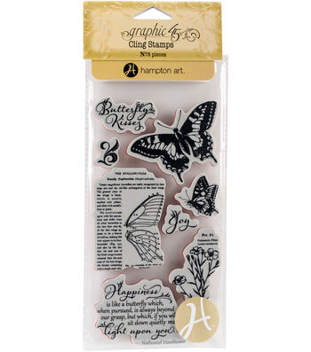 Graphic 45 Nature Sketchbook Cling Stamps-Butterfly Kisses
