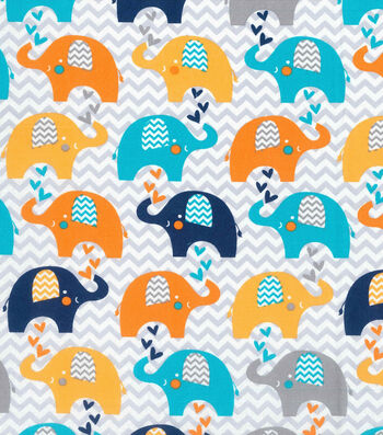 "Nursery Cotton Fabric 43""-Navy Elephant & Chevron"