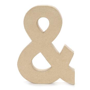 Paper Mache Letter Ampersand Symbol, 12 x 1.5 inch