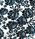 All That Glitters Foiled Floral Border Organza Fabric-Turquoise