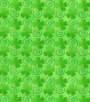 "St. Patrick's Day Cotton Fabric 44""-Tossed Shamrocks Glitter"
