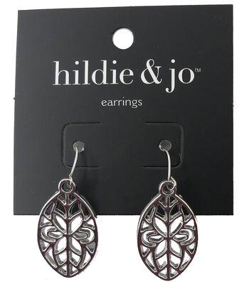 hildie & jo™ 1.13''x0.63'' Oval Cut Out Silver Earrings