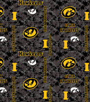 "University of Iowa Hawkeyes Fleece Fabric 43""-Digital, , hi-res"