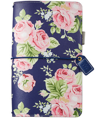 """Faux Leather Travelers' Planner 5.7""""X8""""-Navy Floral"""