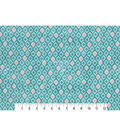 Two Daughters™ Cotton Fabric 43\u0022-Teal Quartrefoil