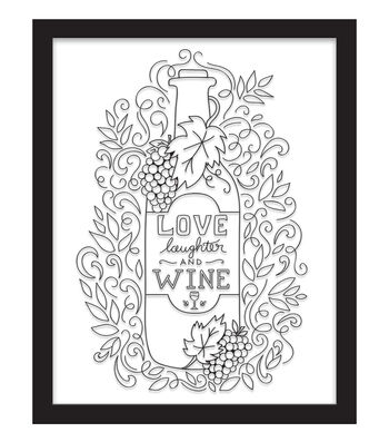 11x14 Color In Love, Laughter, Wine Float Frame-Black