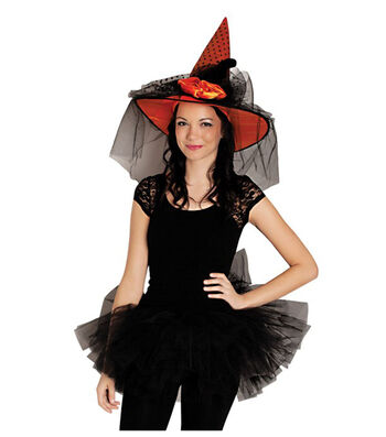 Maker's Halloween Witch Hat-Black Polka Dots on Orange