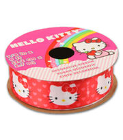 Hello Kitty® Valentines Ribbon-Red Ribbon With Hearts, , hi-res