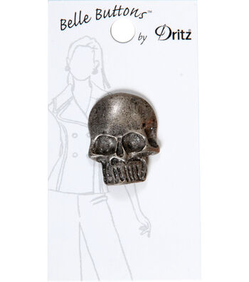 Dritz Belle Button 30mm Metal Large Skull