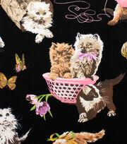 "Alexander Henry Cotton Fabric 44""-What's New Pussycat Black, , hi-res"