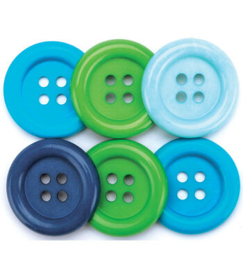 Favorite Findings Big Basic Buttons-Ocean 6/Pkg