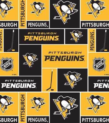 Pittsburgh Penguins Cotton Fabric 43''-Block