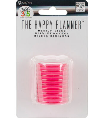Create 365 Planner Discs-Clear Hot Pink 1.2""