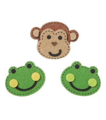 Stickers Small Felt Frog Monkey w/Stitches, 16pc
