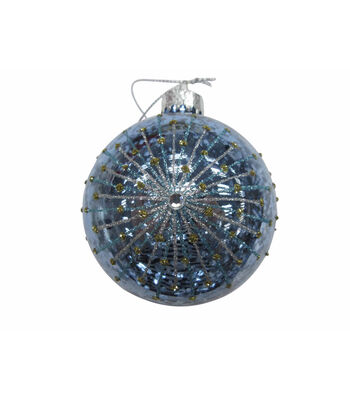 Maker's Holiday Christmas Globe with Starburst Ornament-Blue