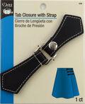 Tab Closure W/Silver Snap-Black 1/Pkg